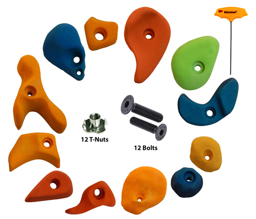 Climbing Holds Mix12 Pieces Set T-Nut + Bolt + LN Key