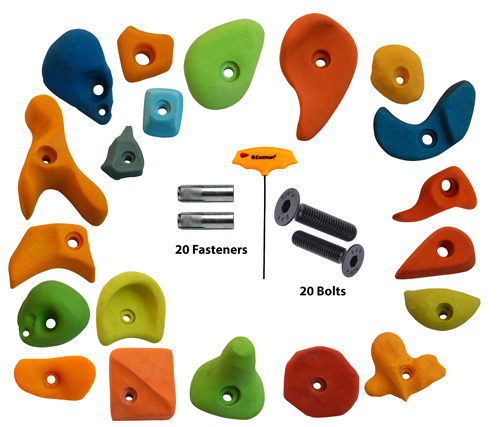 Climbing Holds Mix20 Pieces Set Fastener + Bolt + LN Key