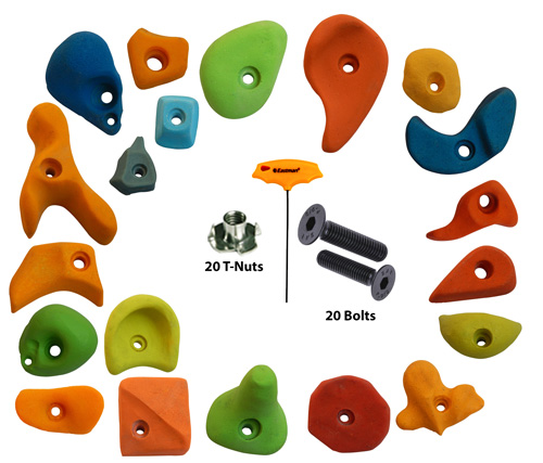 Climbing Holds Mix20 Pieces Set T-Nut + Bolt + LN Key