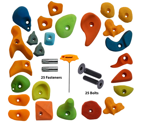 Climbing Holds Mix25 Pieces Set Fastener + Bolt + LN Key