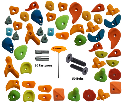 Climbing Holds Mix50 Pieces Set Fastener + Bolt + LN Key