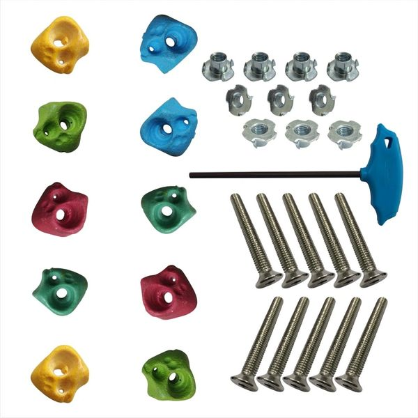 EXTRA SMALL CLIMBING HOLDS - 10 PCS + T NUT + BOLTS + LN KEY