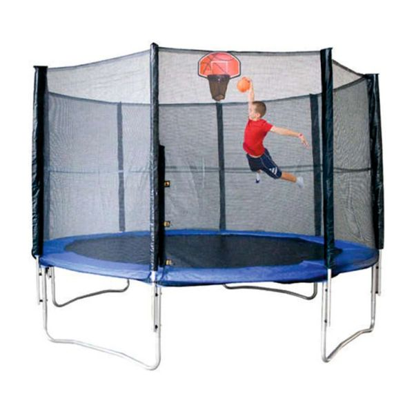 TRAMPOLINE WITH BASKETBALL HOOP